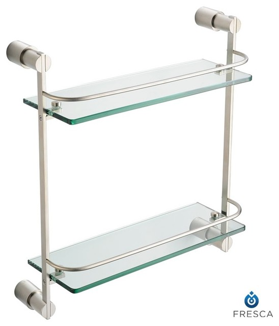 Fresca Magnifico 2 Tier Glass Shelf - Brushed Nickel - Modern - Display And Wall Shelves - by ...