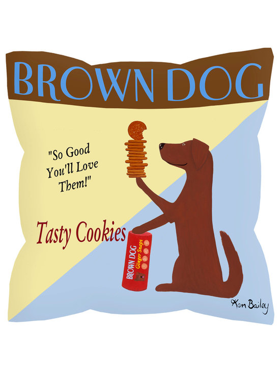 """Brown Dog With Cookies Pillow Pillows - Brown Dog With Cookies pillow is 18"""" x 18"""" and has a concealed zipper and feather & down insert (95/5). 100% Eco friendly material printed with non toxic, non fading dyes. Front 100% polyester from recycled plastic bottles. Back 65% polyester from recycled plastic bottles; 35% organic cotton. Colorful artwork by Ken Bailey and made in USA by American workers."""