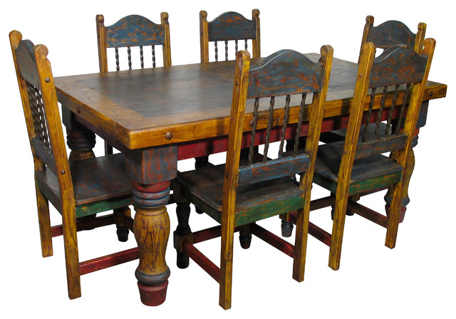 Mexican Country Style Painted Wood Dining Set Dining