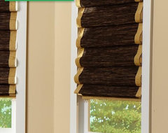 Laura Ashley Natural Woven Wood Shades From Blinds.com in Bungalow Firewood contemporary-roman-blinds