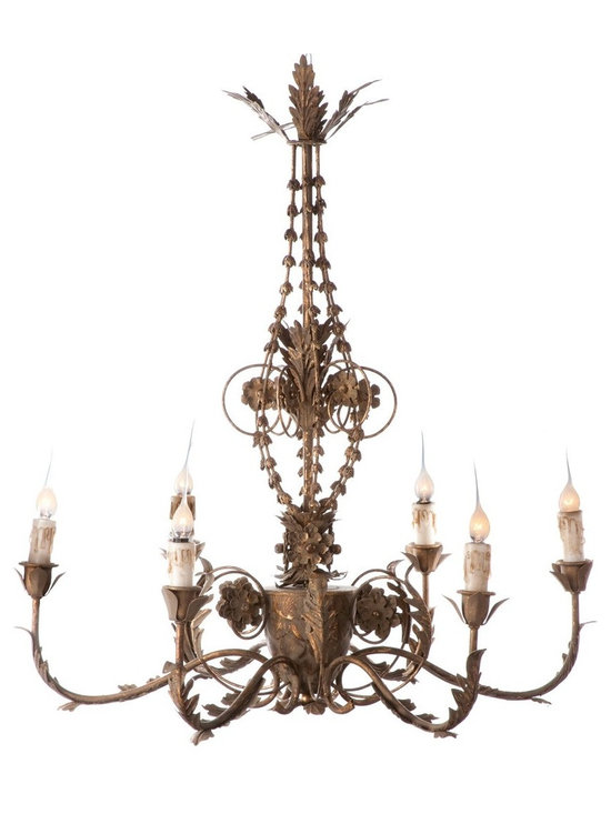 Aidan Gray Santa Maria Chandelier - The Santa Maria Chandelier in Aged Gold is an ode to traditional Spanish decor. This hard wired chandelier is sure to add an element of eclecticism to any room.