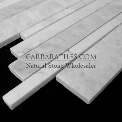 Carrara Marble Italian White Bianco Carrera Random Brick - Random Strip Polished modern-tile