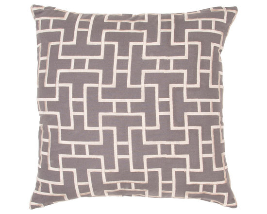 Jaipur - Modena Pillow, Charcoal & Pebble Set of 2 - Funky range of pillows in poly dupione use rich jewel tones expressed in a highly textural and fun way. Perfect for a touch of retro glamour in your home.