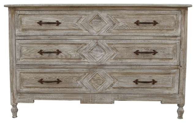 3 Drawer Dresser with a Medium Antique Painted Finish Farmhouse Dressers