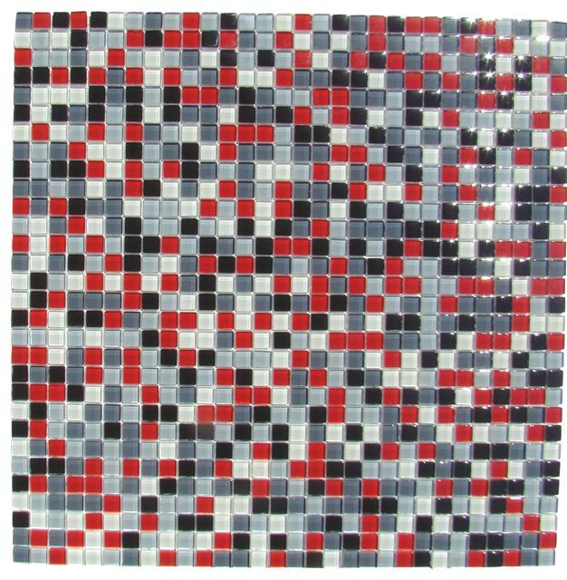 BURST Red White Black Grey Mosaic Tile Backsplash