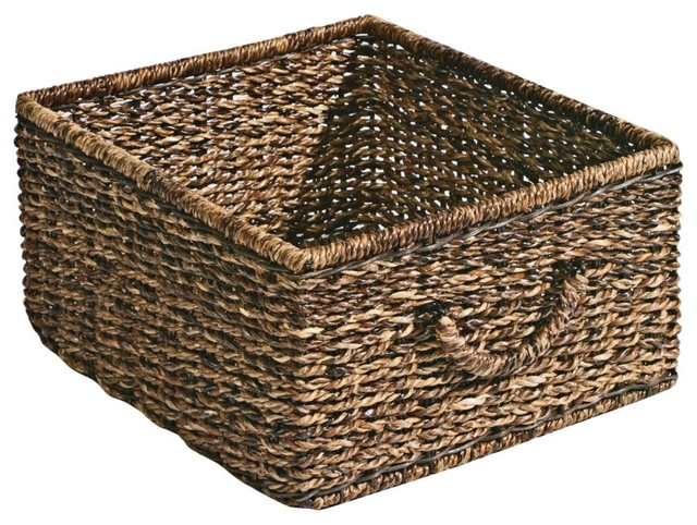 Dark Abaca Storage Basket Traditional Baskets By