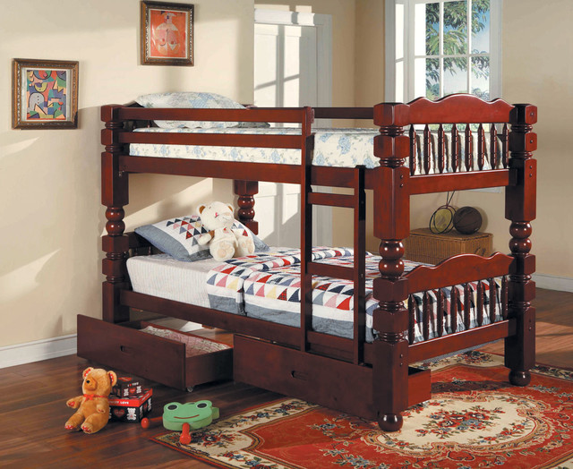 Benji cherry post twin bunk bed with storage drawers contemporary bunk beds new york by - Kids twin beds with storage drawers ...