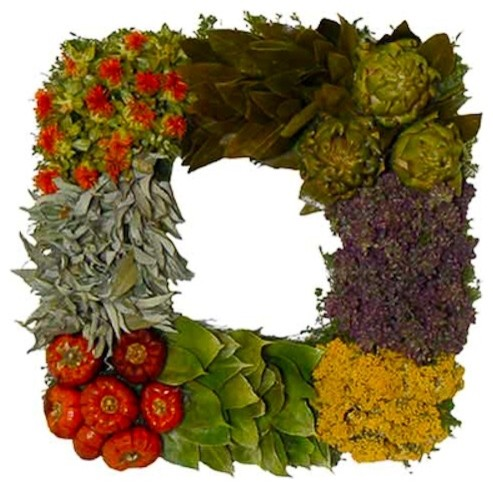 Sun-Dried Tomato Square Wreath modern-wreaths-and-garlands