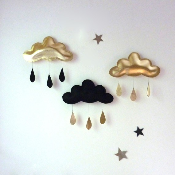 Cloud Mobile Black Felt Raincloud and Gold Drop by The Butter Flying modern mobiles