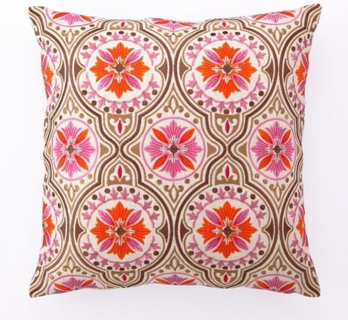 Back Bay in Pink & Brown Embroidered Pillow - eclectic - pillows