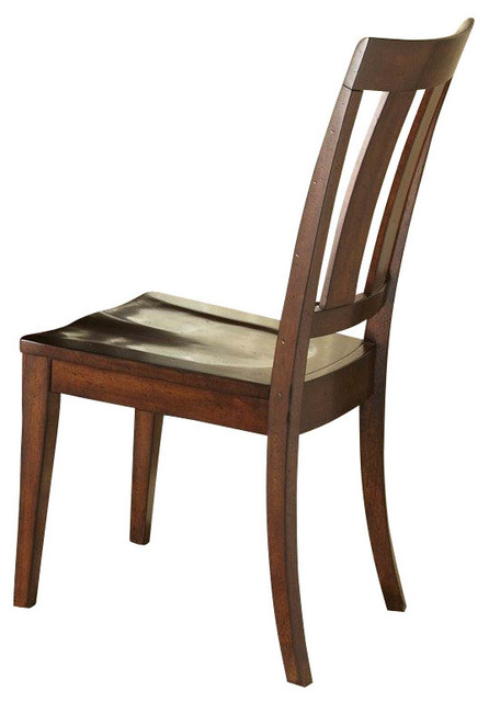 Liberty Furniture Tahoe Transitional Side Chair w/ Slat Back in Mahogany (Set of traditional-dining-chairs