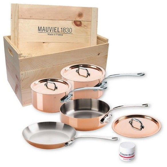 Mauviel M'150s Copper & Stainless Steel Cookware Set, 7 pc. traditional-cookware-sets