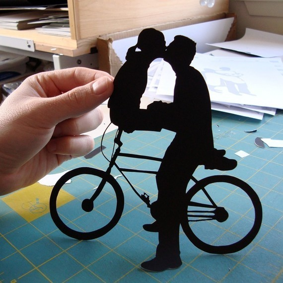 First Anniversary Gift Paper Kissing Couple on Bike by Papercuts by Joe modern-artwork