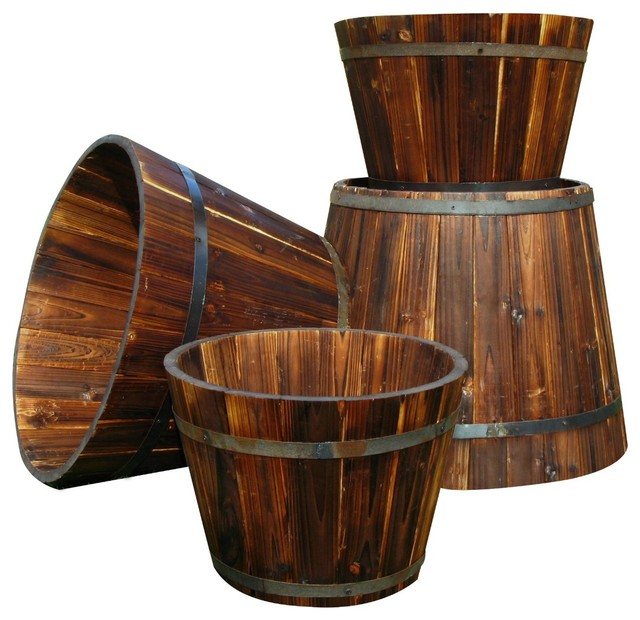 Shine Company Round Tall Cedar Barrel Planter Burnt Brown