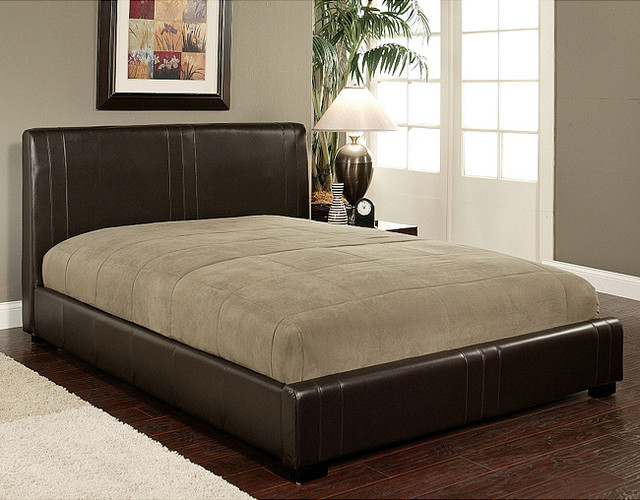 ... -cast Leather Queen-size Bed - Contemporary - Beds - by Overstock.com