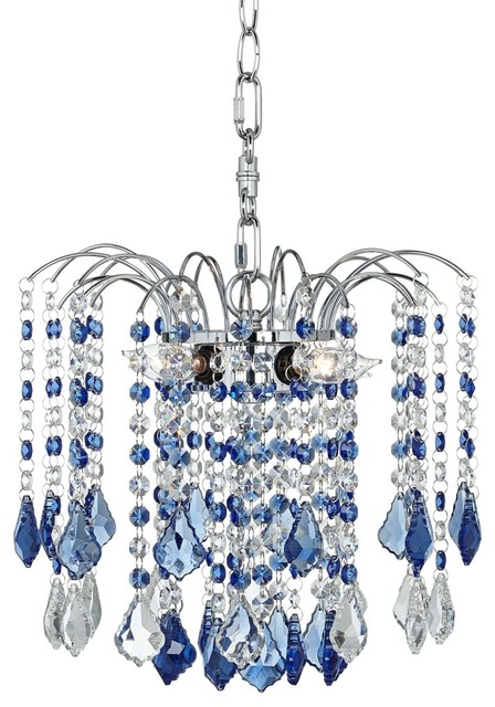 "Crystal Nicolli Blue Crystal 12"" Wide 4-Light Mini Chandelier contemporary-chandeliers"