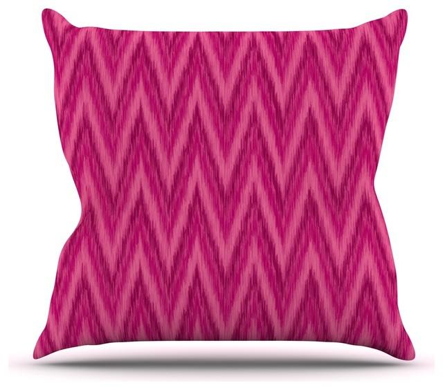 "Amanda Lane ""Berry Pink Chevron"" Magenta Purple Throw Pillow (Outdoor, 20"" x 20"" - Contemporary ..."