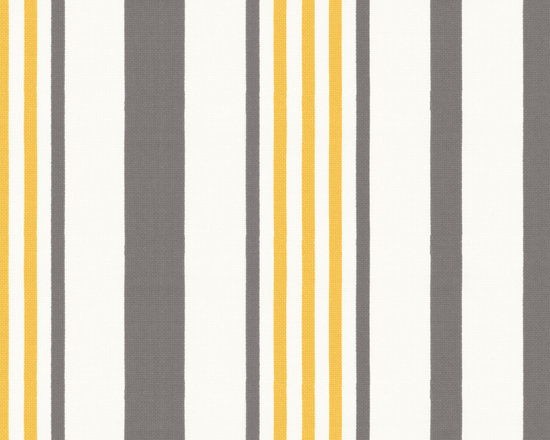 Stripe Out in Ash - Grey, yellow, & white stripe outdoor fabric.