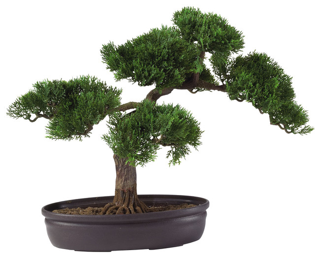 """Nearly Natural Cedar Bonsai 16"""" Silk Plant traditional-artificial-flowers-plants-and-trees"""