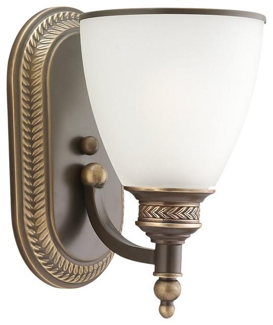 Seagull Laurel Leaf - Estate Bronze Bathroom Lighting Fixture in Estate Bronze mediterranean-bathroom-vanity-lighting