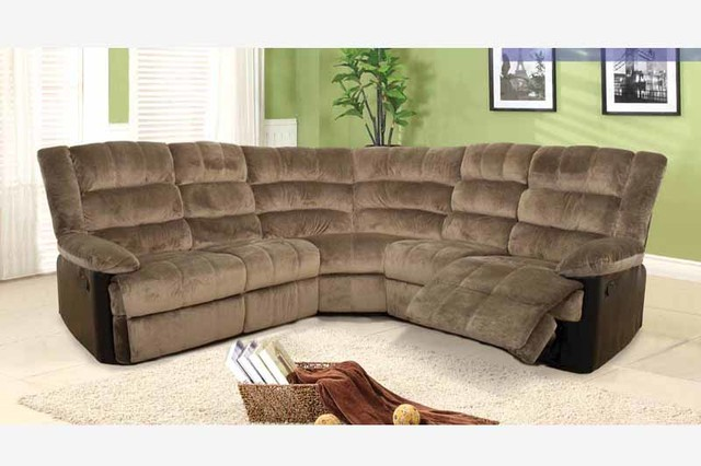 F Coffee Fabric Leather Dual Reclining Sectional Sofa