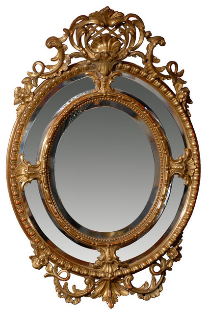Consigned Oval Gilt Mirror traditional-wall-mirrors