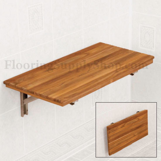Teak Wood Wall Mount Fold Down Bench Modern Bathroom