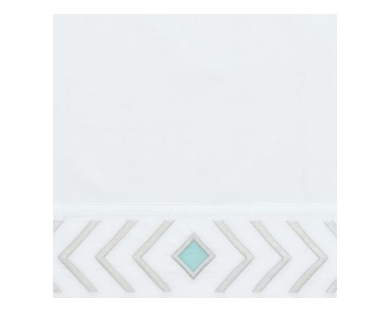 Serena & Lily - Cloud/Aqua Canyon Pillowcases - The shape of a feather (abstracted and made graphic) is the design icon of our embroidered sheet set. On crisp white, it adds the perfect pop of interest and pairs well with a multitude of colors and patterns.