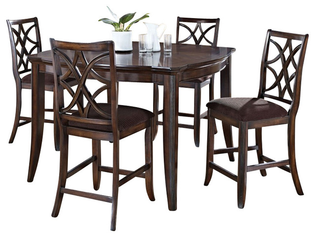 5-Piece Keenan Collection Walnut Finish Wood Counter Height Dining Table Set transitional-dining-sets
