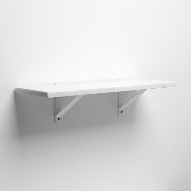 Marble Shelf + White Basic Brackets - Traditional - Display And Wall Shelves - by West Elm
