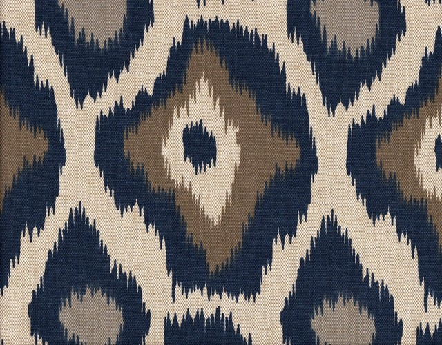 50W x 72L Shower Stall Curtain, Lined, Adrian Indigo Blue Taupe Beige Geometric contemporary-shower-curtains