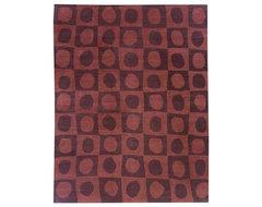 Warp & Weft - Scoops Mahogany Wool Rug modern-rugs
