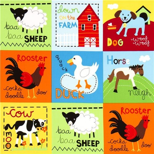 Cute Farm Animal Squares Fabric By Robert Kaufman