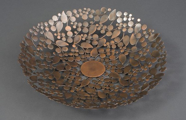 Round Leaf Platter Antique Copper Finish eclectic serveware
