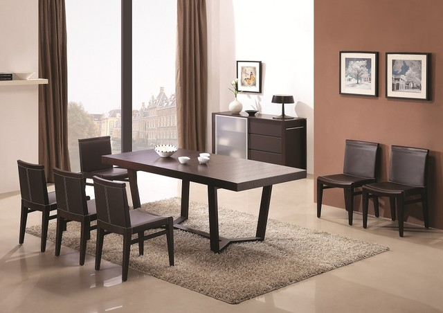 Extendable Wooden Top Leather Modern Dining Set with Leaf
