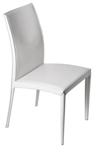 Euro Style Dafney Leather Side Dining Chair White Set Of 2 Contemporary