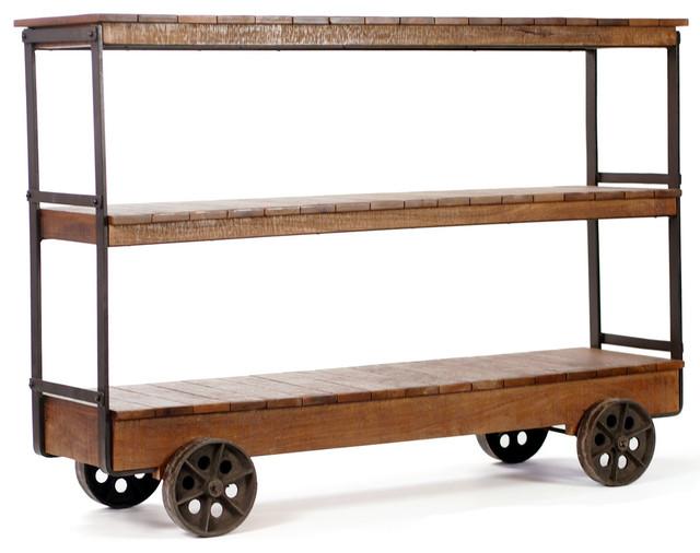 Bradbury Three Shelf Rustic Trolley Console - Industrial - Furniture ...