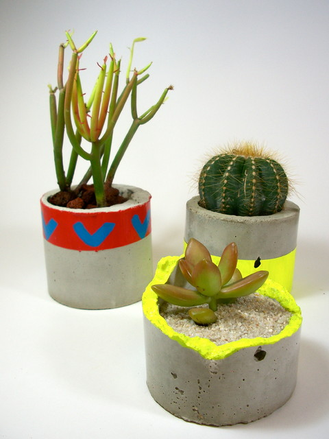 Dachshund in the Desert Handmade Concrete Planters modern-indoor-pots-and-planters