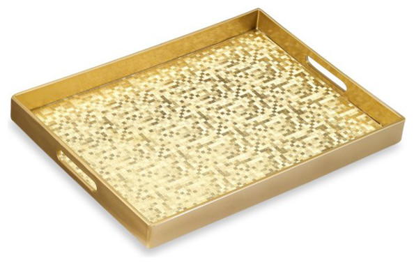 Mosaic Gold Rectangular Serving Tray Contemporary