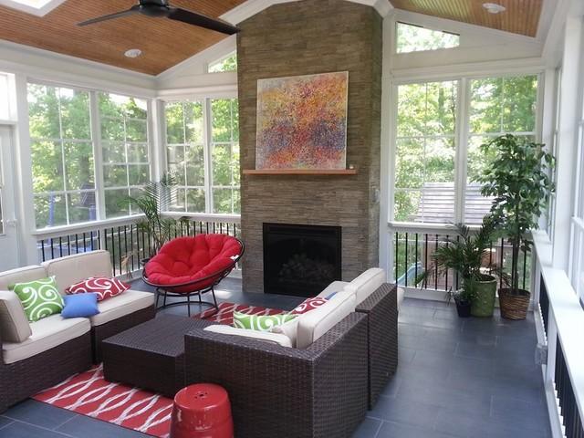 Raleigh Nc 3 Season Room With Gas Fireplace