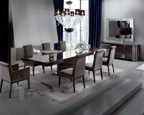 Giorgio Collection - Giorgio Collection ABSOLUTE extension dining table and chairs. Japanese tamo burl blended with stainless steel accents and modern Deco design. Crafted in Italy.
