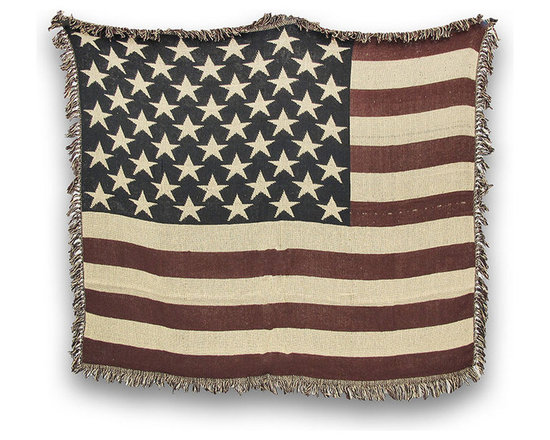 Woven Cotton American Flag Throw Blanket - This woven cotton throw blanket adds a patriotic accent to your home year round, and it is the perfect weight to keep a chill off as you settle in to watch TV or read a book. It is 100% cotton and measures 60 inches long by 50 inches wide. Recommended care instructions are to machine wash in cold water on a delicate cycle, tumble dry on low heat, and do not use bleach. This blanket makes a great gift that is sure to be loved, year after year.