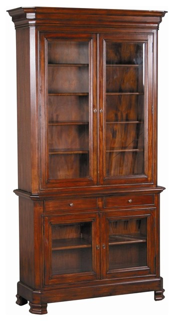 New Tall Bookcase Glass Doors Drawers - Traditional - Storage Cabinets - by EuroLuxHome