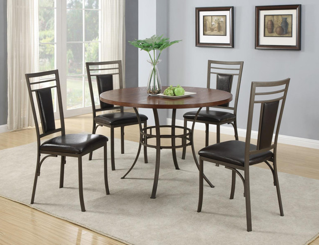 5 pc cherry wood metal dining set round table chairs for Wood dining chairs with leather seats