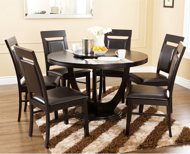 piece round dining set with lazy susan contemporary dining sets