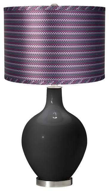 Satin purple zig zag shade ovo table lamp contemporary table lamps