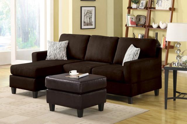 Acme vogue small chocolate microfiber sectional sofa for Black microfiber small sectional sofa with reversible chaise ottoman