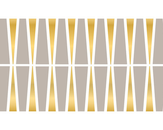 """WallPops - Jonathan Adler Santorini Stripe Wall Decals - Santorini WallPops by Jonathan Adler display a stylish pattern with a captivating color scheme. These beautiful designer wall decals give walls an elegant look with bold grey and white hues and glistening gold undertones. Stripes are 6.5"""" wide x 12' long and come one to a pack. WallPops are always repositionable and removable."""