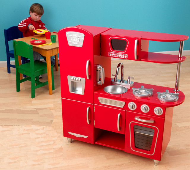 Kidkraft red retro vintage kitchen all modern baby for Kitchen set game