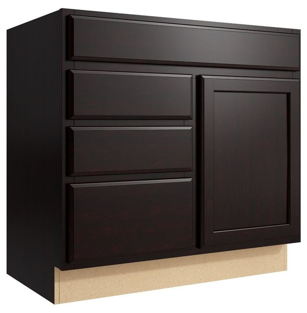 Cardell Cabinets Stig 36 in. W x 34 in. H Vanity Cabinet Only in Coffee brown - Contemporary ...